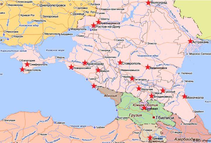 Карта гарнизонных военных судов, подведомственных СК ОВС